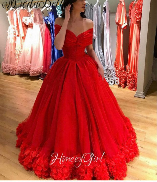 Red Quinceanera Dresses, Princesss Ball Gown Evening Dresses,Off-the-Shoulder