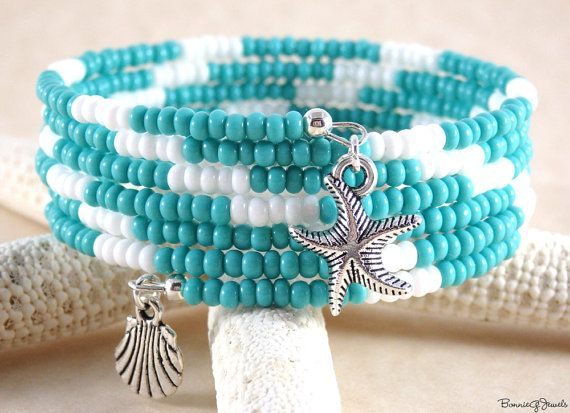 Hey, I found this really awesome Etsy listing at https://www.etsy.com/listing/186745063/seed-bead-memory-wire-bracelet-turquoise