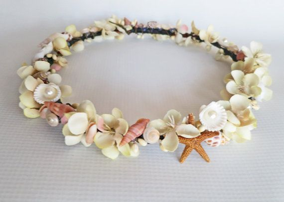 Beach Wedding Flower Crown-Sea Shell Flower Crown-Beach Wedding Hair Crown-Crown of Sea Shells