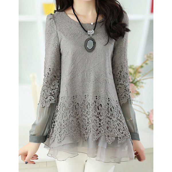 Women's Sweet Scoop Neck Lace Splicing Long Sleeve T-Shirt, GRAY, 2XL in Tees & T-Shirts | DressLily.com