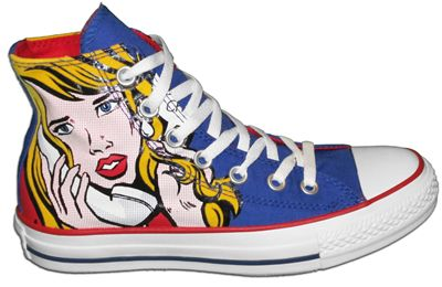 Fab! would love a pair of these funky shoes} Converse shoes inspired by Roy Lichtenstein's art.