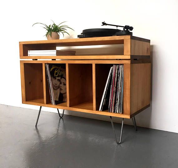 """Vinyl Storage Cabinet, Media Console, Record Player Stand With Partitions, Solid Wood on Mid Century Hairpin Legs. """"Sonor Stacked Low"""""""