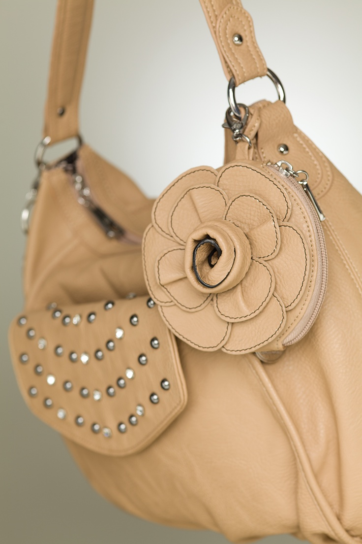 "Grace Adele ""Lily"" bag in sand + ""Rae"" clutch in sand + ""Rose"" clip-on, in sand www.bethpearce.graceadele.us"