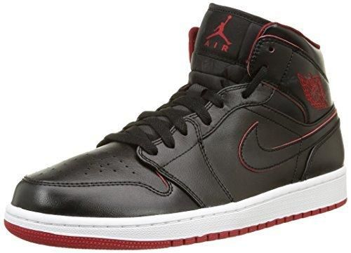 Nike Men's Air Jordan 1 Mid Black/Black/White/Gym Red Basketball Shoe - 10.5 D(M) US