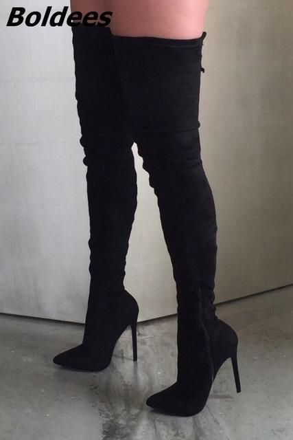 b2e2b793509 Black Nude Stiletto Heel Thigh High Boots Women Sexy Slim Fit Pointy Thin Heel  Lace Up Long Boots Pretty Shoes