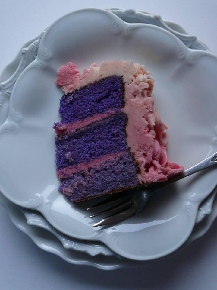 Lavender Ombre Layer Cake with a raspberry & white chocolate ganache filling & vanilla bean buttercream and ganache mix ombre rosettes