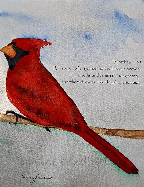 Big Red Bird Watercolor With Verse My Art Watercolor