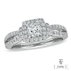 Vera Wang LOVE Collection 1 CT. T.W. Diamond Frame Split Shank Engagement Ring in 14K White Gold