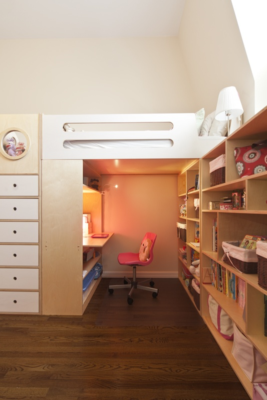 a private nook nestled under the bed and surrounded with storage #desk #workspace #smart #nyc