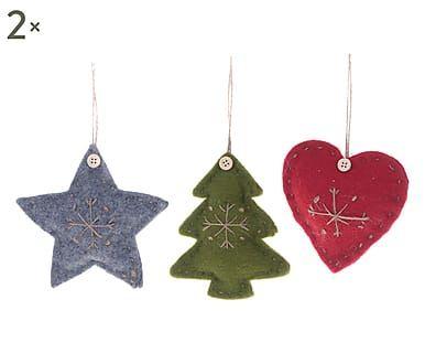 Set di 6 decorazioni da appendere in tessuto rosso, grigio, verde, 13x13 cm