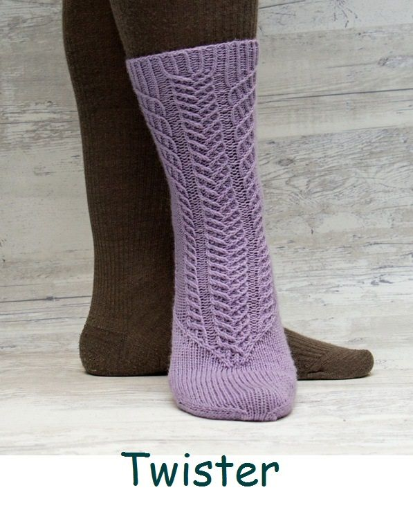 Twister. A sock design with a hurricane of twisted stitches.
