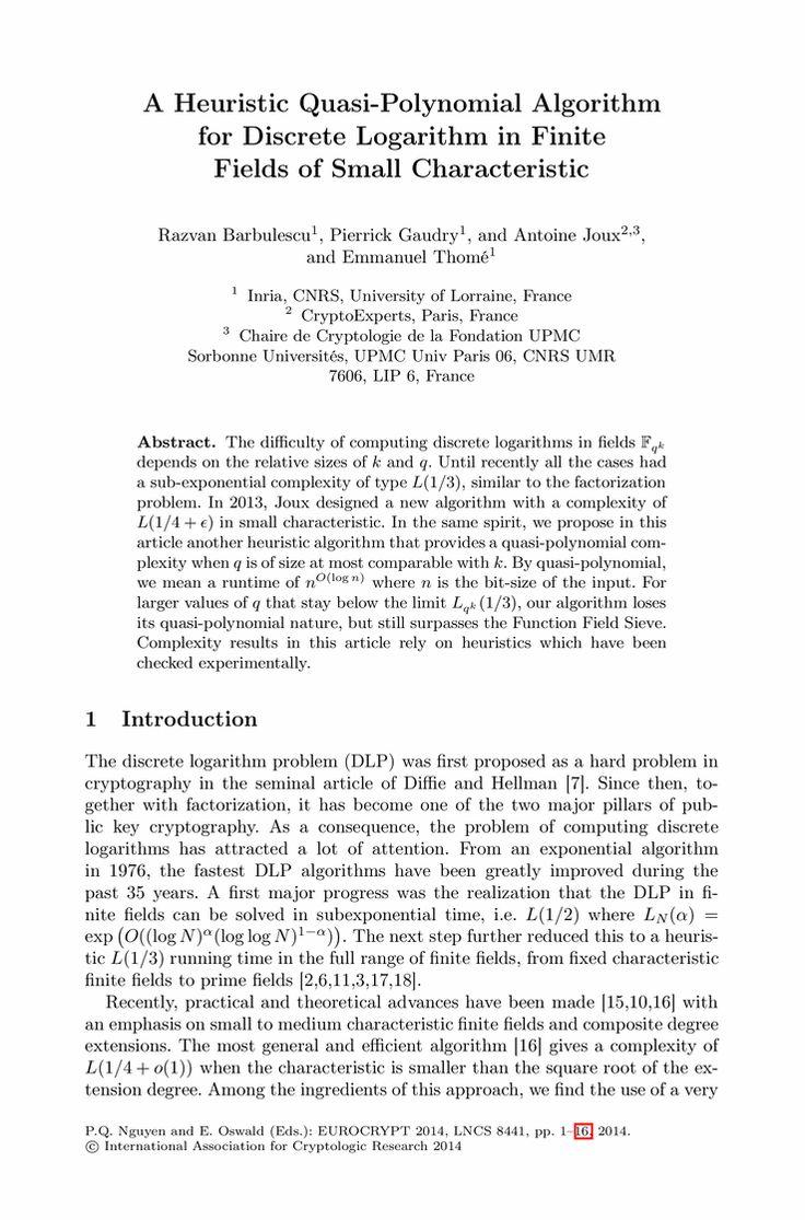 A Heuristic Quasi-Polynomial Algorithm for Discrete Logarithm in Finite Fields of Small Characteristic