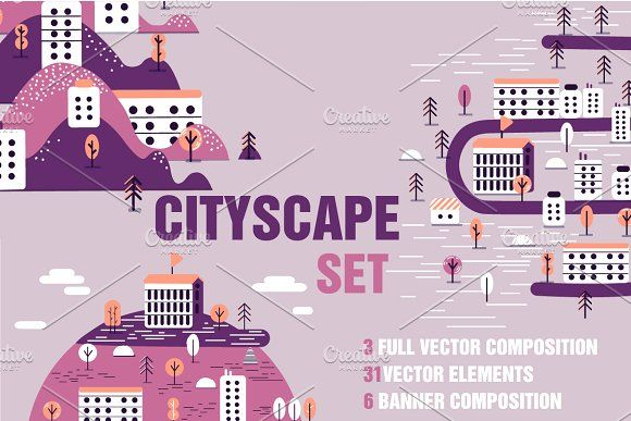 Cityscape set by Margarita art on @creativemarket #creative #market #vector #illustration #graphic #design #flat #set #icon