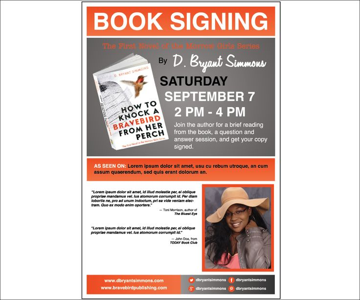 18 best sample author posters images on pinterest book for Book signing poster template