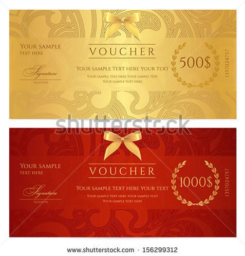 Voucher, Gift certificate, Coupon template Floral, scroll pattern bow, frame Background design for invitation, ticket, banknote, money design, currency, check cheque Red, gold vector