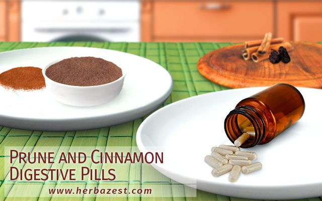 Prune and Cinnamon Digestive Pills. This Week's Herbal Remedy: Prune and Cinnamon Digestive Pills. Don't be intimidated to make your own supplements at home - it's simpler than you might imagine. These potent pills feature fiber-rich laxative prunes, which facilitate digestion. Meanwhile, cinnamon is a carminative that works by stimulating digestion and relieving bloating. Tags: #prune #cinnamon #supplements #pills #diy #digestion #health #nutrition