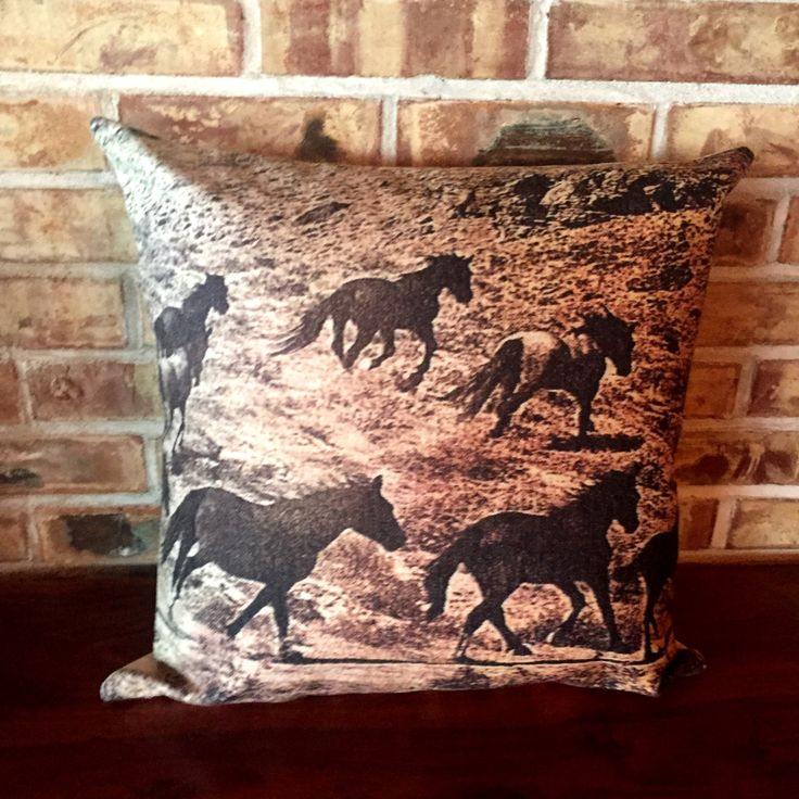 Rustic Modern Wild Horses 2 Pillow Cover by HorseEyeDesigns on Etsy