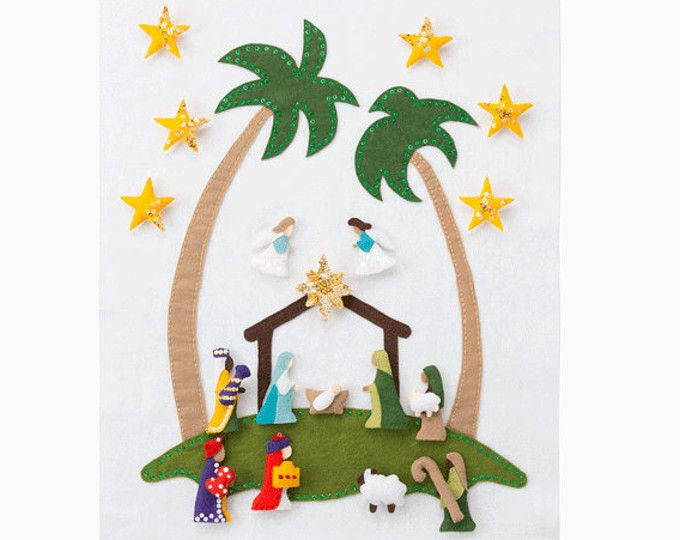 Nativity Advent Calendar Pattern - Wool Felt - Christmas Holiday Countdown - 'Star of Wonder' Base with 24 Magnetic Characters