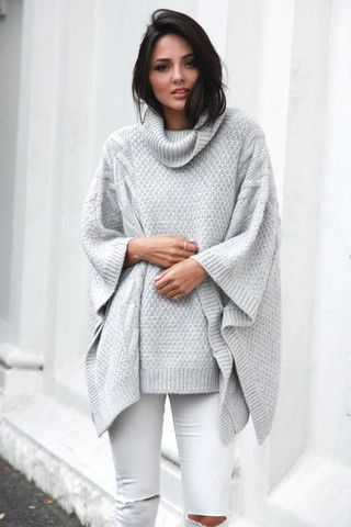 Bells Out Roll Neck Poncho by Madison Square at Midsummer Eve