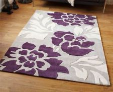 Area Rug Silver Purple 6x9 | Modern 100% Hard Wearing Polyester Rug With  Grey Purple