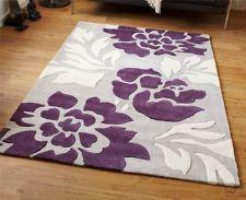 area rug turqoise silver purple 6x9 | Modern 100% Hard Wearing Polyester Rug With Grey Purple Stunning Range