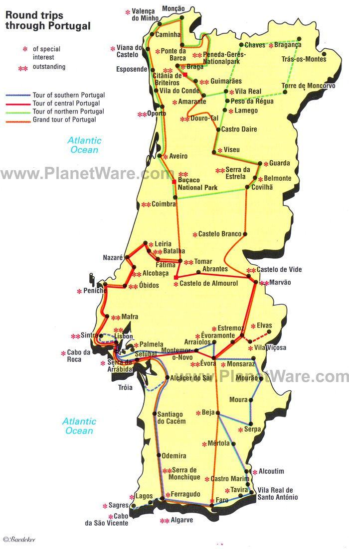 Round trips through Portugal Map