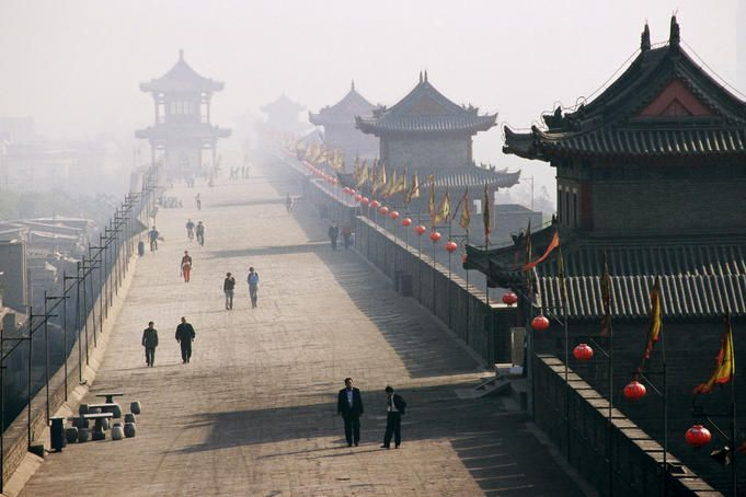 This is the wall that we are going to ride bikes on in Xi'an - On ancient city wall near North gate.