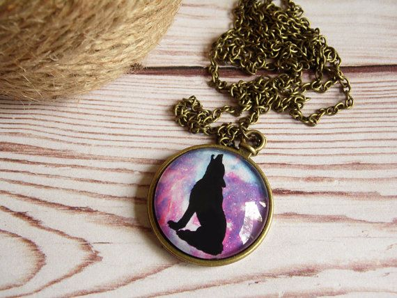 Wolf hipster necklace, galaxy necklace, wolf pendant, glass dome jewelry, vintage necklace, universe pendant, starry night, moonlight