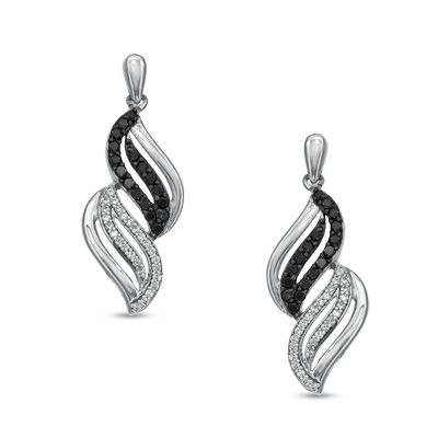 1/2 CT. T.W. Enhanced Black and White Diamond Wave Drop Earrings in Sterling Silver