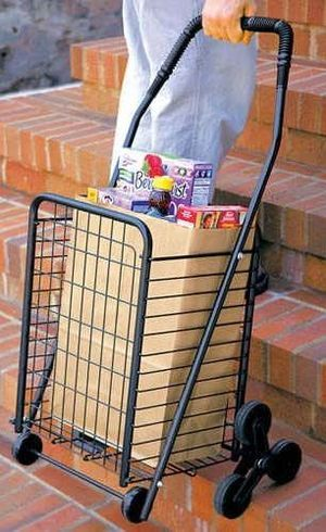 """From the website: Rolling Shopping Cart  Transport groceries, laundry and more with ease.    Our Rolling Shopping Cart has special wheels that maneuver over stairs/curbs in seconds.    Heavy loads seem light as a feather!    Features:    • Cart size: 18""""W x 15.75""""L x 34""""H    • Basket size: 13""""W x 11""""L x 18""""H    • Metal with vinyl handle    • Lightweight but sturdy    • Easy assembly    • Folds to 9""""D    $59.95.    June 28, 2007 at 01:01 PM 