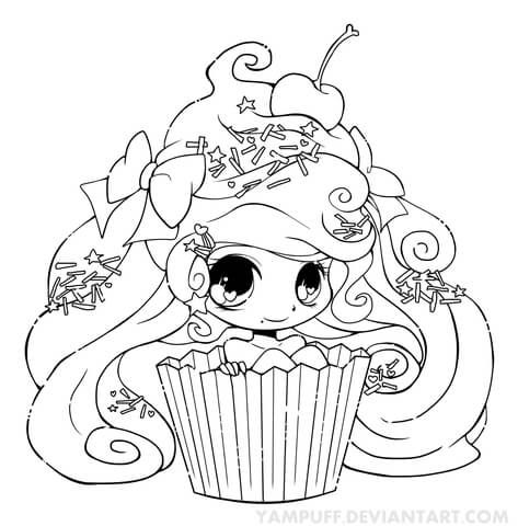 Chibi Cupcake Girl Coloring page --> If you're in the market for the best adult coloring books and supplies including drawing markers, colored pencils, gel pens and watercolors, logon to http://ColoringToolkit.com. Color... Relax... Chill.