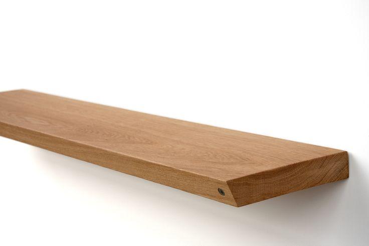 A shelf made of oak planks.