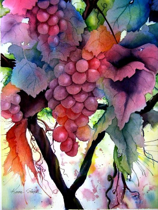 """Grapes"" ~ By Karen Stark. Beautiful flowing vibrant color and a nice balance of warm and cool colors."
