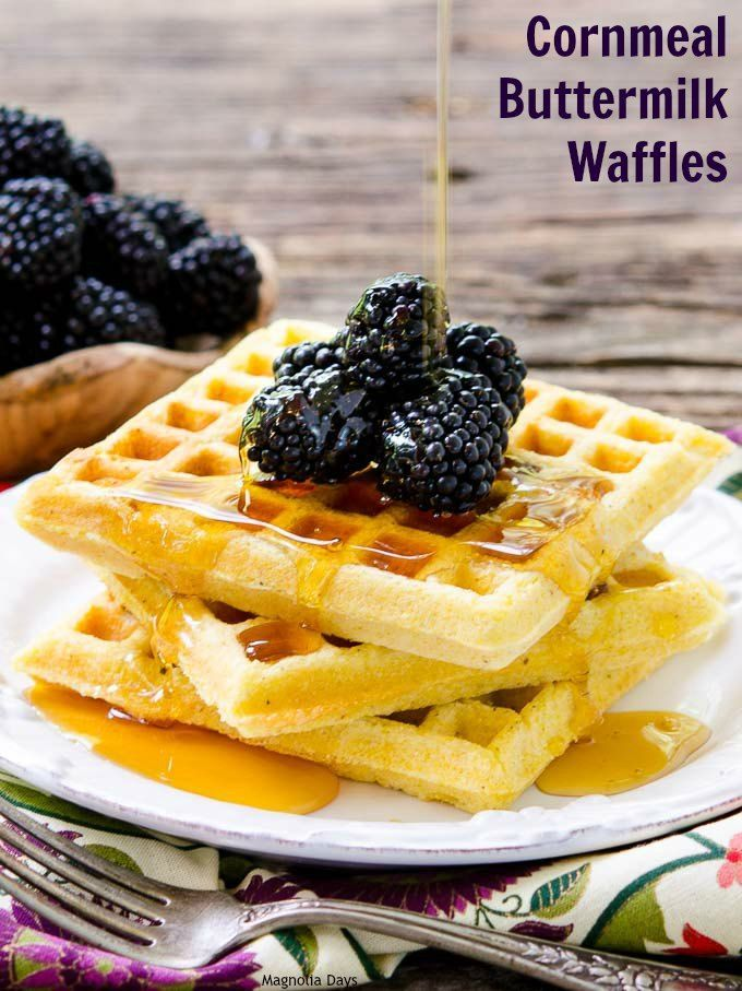 Cornmeal Buttermilk Waffles have the wonderful flavor and texture of southern cornbread.