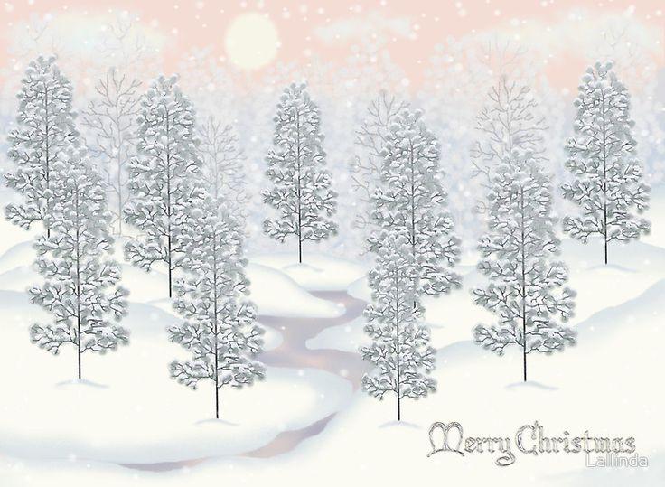 Snowy Day Winter Scene Merry Christmas