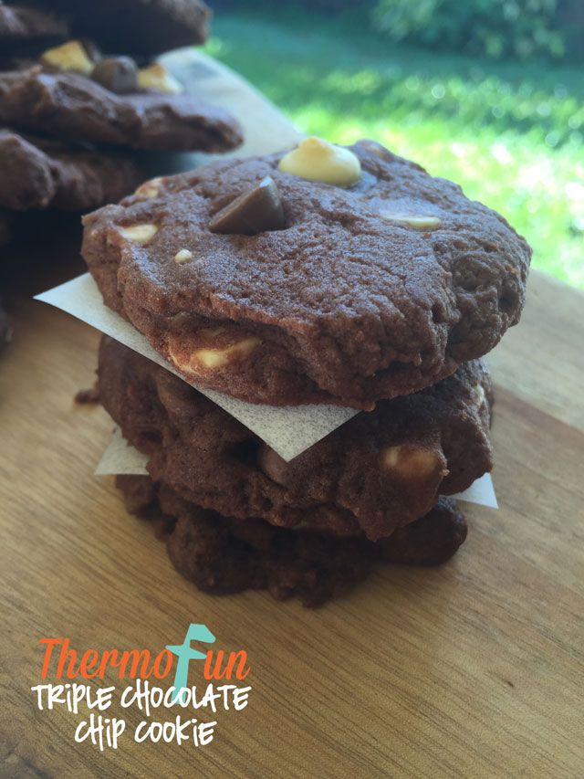 If you are looking for a great lunchbox or after school hit or even to sandwich between baileys ice cream then these thermomix Triple Chocolate Chip Cookies