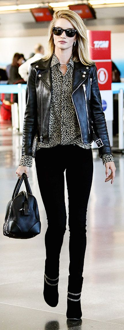 Rosie Huntington-Whiteley does airport style right: printed blouse, moto jacket and skinny jeans