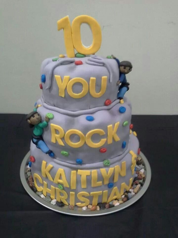 Cute cake for rock climbing themed birthday party