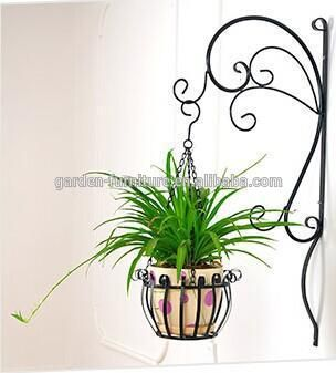Indoor decorative metal wall outdoor garden pot cup holders, froged hand wrought iron hanging basket
