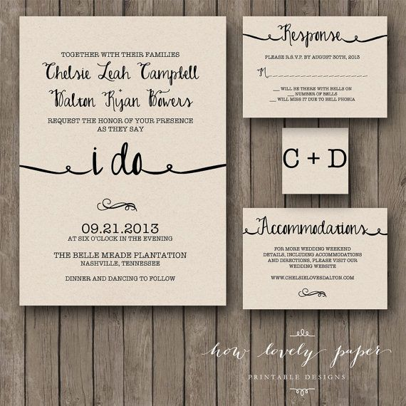 Printable Wedding Invitation Suite the Ella by HowLovelyPaper