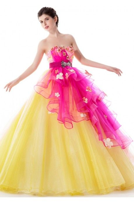 Yellow Strapless Floor Length Flower Sash Tulle Ball Gown Color Dress Wedding Cab 0036