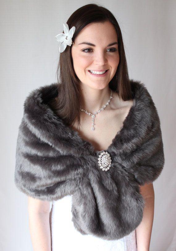 Faux fur wrap bridal stole Dark Grey