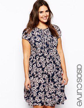 ASOS CURVE Exclusive Tea Dress In Floral Print