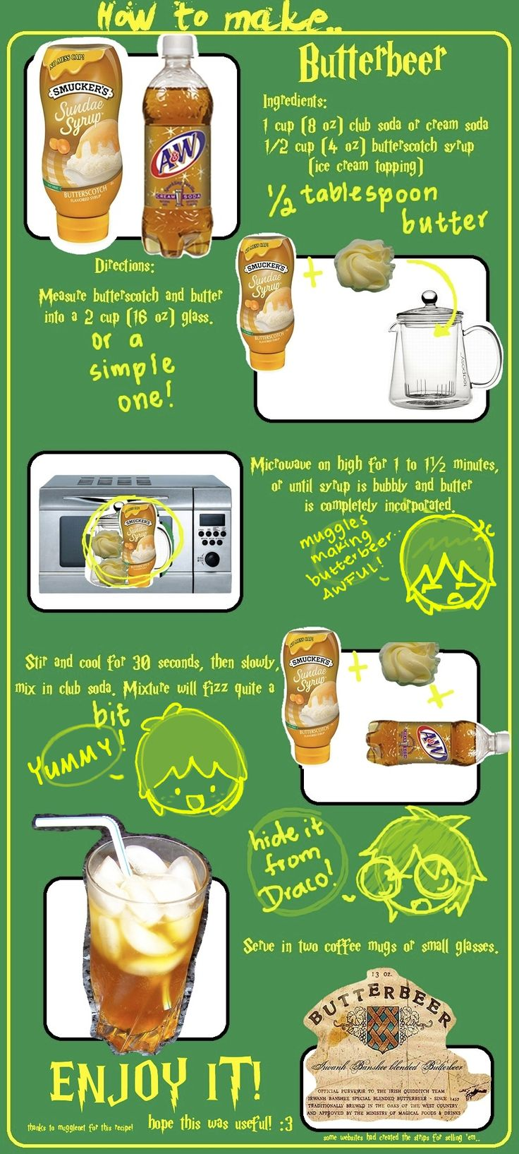How to make ButterBeer by ozymandias93.deviantart.com on @deviantART