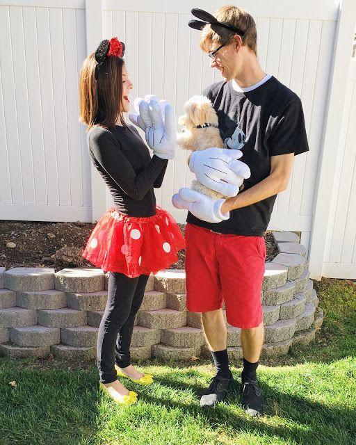 Disney family halloween costumes - Mickey, Minnie, and Pluto