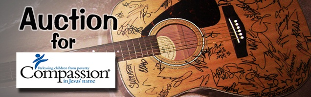 Place your bid today for a chance to win an acoustic guitar signed by over 30 Shine artists! All of the money raised will go to Compassion.