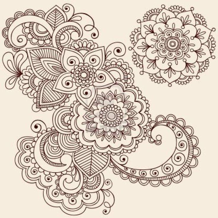 Hand getekende ingewikkelde abstracte bloemen en Mandala Mehndi Henna Tattoo Paisley Doodle - illustratie Stockfoto