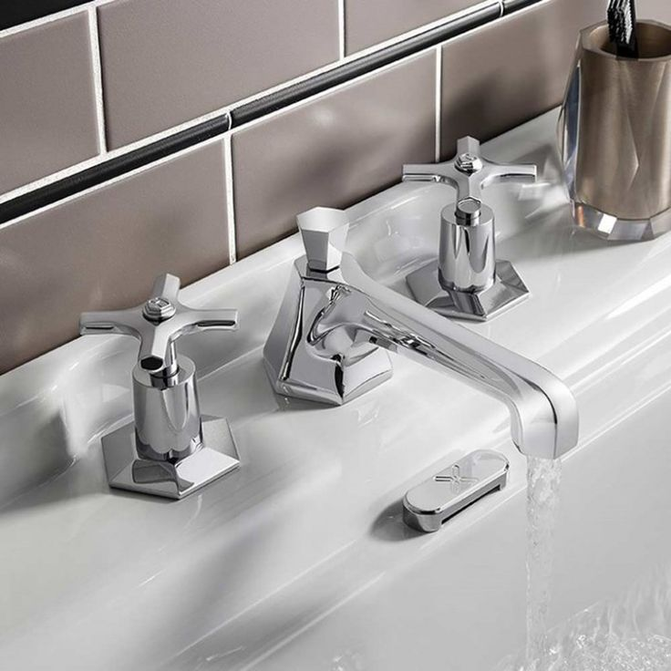 Crosswater Waldorf Crosshead 3 Hole Basin Mixer Tap | WF130DPC | Drench