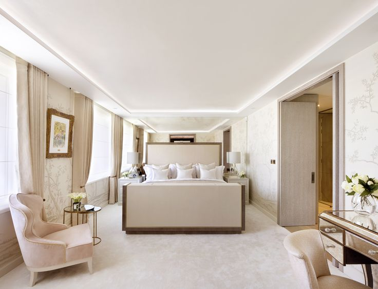 Small Accents Of Gold And Glass Decorate This Blush Bedroom By 1508 London