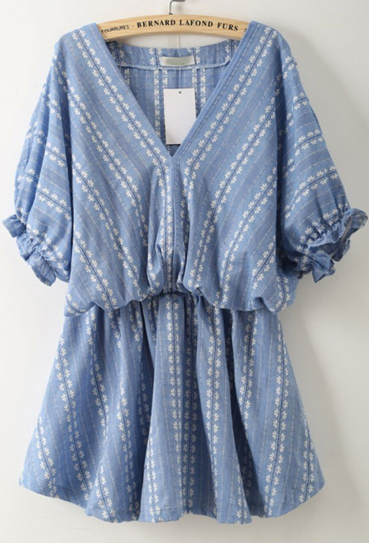 Buy Blue V Neck Batwing Sleeve Embroidered Dress from abaday.com, FREE shipping Worldwide - Fashion Clothing, Latest Street Fashion At Abaday.com